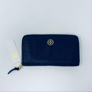 Tory Burch Jane Zip Continental Wallet Navy Blue